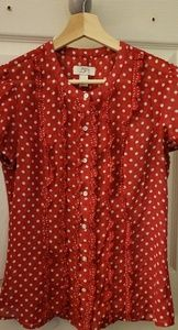 Loft red/white polka dot blouse
